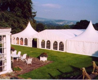 Marquee on the lawn at Penmyarth House