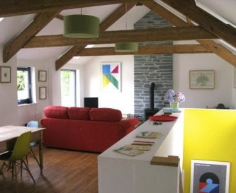 Open Plan Living area in the Red Barn