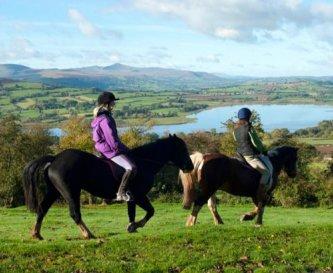 Horse Riding above Llangorse Activity Centre