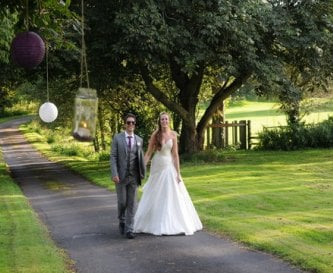 Wedding Couple on driveway to Crepe Farmhouse