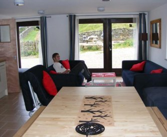 Comfy large sofas with views of fields & patio