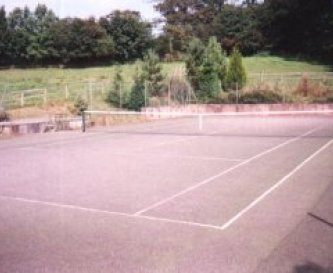 The newly resurfaced tennis court