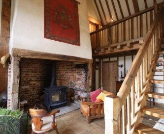 The hall area with woodburner