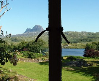 Iconic mountain Suilven from Glencanisp Lodge